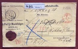 GERMANY  PAKETKARTEN  FROM  BRESLAU Nero + BRESLAU Rosso 2/2/75  TO   WOHLEN  SUISSE - Lettres & Documents