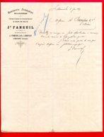 LETTRE DE COMMANDE (C 925) BRASSERIE FRANÇAISE GLACIÈRES J. FANEUIL LIBOURNE (Gironde) - 1800 – 1899