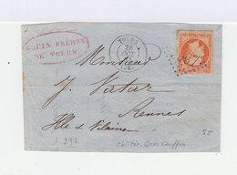 Sur Enveloppe 40 C. Orange Second Empire. Oblitération Losange Grands Chiffres. CAD Tours 1864. (699) - Postmark Collection (Covers)