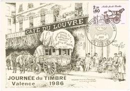 30074. Tarjeta Maxima VALENCE (France) 1986. Journée Du Timbre. Cafe Du LOUVRE - Cartas Máxima