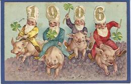 CPA Année Fantaisie Gnomes Nains Lutins Gaufré Embossed Cochon Pig Circulé - New Year
