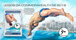 MOZAMBIQUE 2018 - High Diving, Commonwealth Games S/S. Official Issue - High Diving