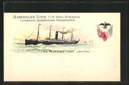 Lithographie American Line U.S. Mail Steamer SS Haverford, Passagierschiff - Paquebots