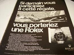 PUBLICITE AFFICHE MONTRE ROLEX  ET REGATE 1969 - Jewels & Clocks