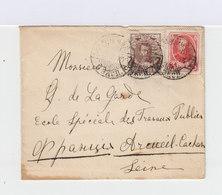 Sur Enveloppe Un Timbre Nicolas II 7 K. Et Un Timbre Alexandre III 3 K. CAD 1913. (704) - Marcophilie - EMA (Empreintes Machines)