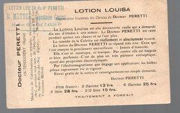 Ain-Temouchent (Algérie) Carte DOCTEUR PERETTI :lotion Louisa Pour La Repousse Des Cheveux (PPP15291) - Advertising