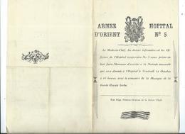Armée D'Orient-Hopital N°5-Matinée Musicale Au Profit Des Victimes De L'Incendie De Salonique - Documents Historiques