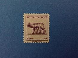 1944 LUOGOTENENZA FRANCOBOLLO NUOVO STAMP NEW MNH** 50 CENT LUPA DI ROMA SENZA FILIGRANA - 1944-46 Lieutenance & Humbert II