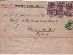 MUSTER OHNE WERT ENVELOPPE CIRCULEE TO LONDON OBLITERE BERLIN 1923 PAR AVION-BLOCK STAMP- BLEUP - Briefe U. Dokumente