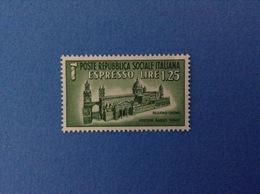1944 REPUBBLICA SOCIALE FRANCOBOLLO NUOVO STAMP NEW MNH** ESPRESSO 1,25 - 4. 1944-45 Repubblica Sociale