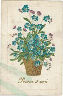 CPA - FANTAISIE- GAUFFREE - MYOSOTIS - Bouquet - Pensez à Moi - - Fancy Cards