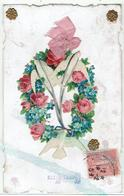 CPA - FANTAISIE-  MYOSOTIS -COLOMBES - Collages - Ruban - Fancy Cards