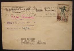 1954 Dijon Gare Maison Réunies Anciens Ets Charpentier Paris Et Bacque, Lettre Pour Rhum Négrita à Bordeaux - Postmark Collection (Covers)