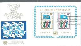 """NATIONS-UNIES NY : FDC Y&T  Bloc N° 6 Du 26/6/1975 """"30ème Anniversaire Des Nations-Unies """" - New York -  VN Hauptquartier"""