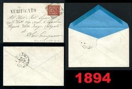 1894 - REGNO - 2 Cent. - Piccola BUSTA - Senza Testo Interno - Da COLLE Di VAL D'ELSA A San GIMIGNANO - VERIFICATO - Storia Postale
