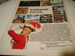 ANCIENNE PUBLICITE VOYAGE A COLOGNE 1969 - Publicidad