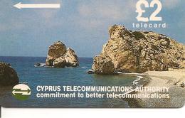 CARTE-a-MAGNETIQUE-CHYPRE-2£-PLAGE Et ROCHERS-BE - Chypre