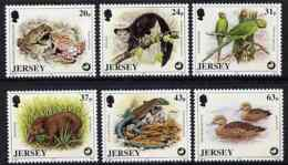 Jersey 1997 Wildlife Preservation Trust (6th Series) ANIMALS PIGS BIRDS PARROTS DUCKS REPTILES FROGS Set Of 6  U/m SG 82 - Jersey