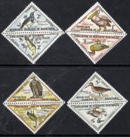 Mauritania 1963 Postage Due - Birds Triangular PELICAN GRIFFON CRANE ORIOLE SUNBIRD SNIPE SHOVELER Short Set Of 8 Values - Mauritania (1960-...)