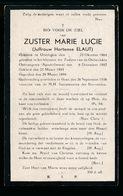 ZUSTER INDE WERELD  HORTENSE ELAUT  OORDEGEM 1864   GENT 1938 - Décès