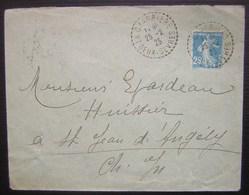 1925 La Charrière (Deux Sèvres) Cachets Tiretés Sur Une Lettre Pour Saint Jean D'Angély - Postmark Collection (Covers)