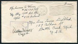 1942 Iceland USA Censor APO 810 Fieldpost Cover - Battle Creek, Mich. - 1918-1944 Administration Autonome