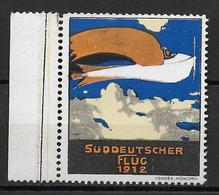 ALLEMAGNE - 1912 - VIGNETTE AVIATION SÜDDEUTSCHER FLUG **/MNH - LEGERES ROUSSEURS SUR LES DENTS - Aviation
