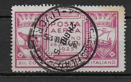 ITALIE - 1925 - VIGNETTE POSTE AERIENNE LIVORNO OBLITEREE - 1900-44 Victor Emmanuel III