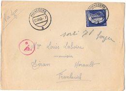 ENVELOPPE PINNEBERG VIA LYON CENSURE Guerre 39/45 Deutsches Reich 25 SIRAN Soldat MOLINIER Camp Prisonnier Ae Rond Rouge - WW II