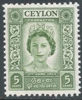 Ceylon. 1953 QEII Coronation. 5c MNH. SG433 - Sri Lanka (Ceylon) (1948-...)