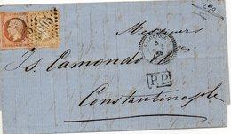 N°21 ET 23 SUR LETTRE DE SALONIQUE POUR CONSTANTINOPLE EN 1865 CACHET PERLE +G.C. 5095 COTE + DE 150 EUROS NET 32 EUROS - 1862 Napoléon III