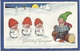 CPA Champignon Mushroom Fantaisie Gnome Lutin Nain Circulé - Fairy Tales, Popular Stories & Legends