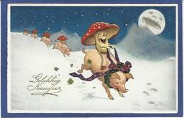 CPA Champignon Mushroom Fantaisie Gnome Lutin Nain Circulé Cochon Pig - Fairy Tales, Popular Stories & Legends