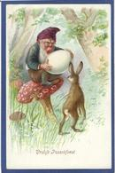 CPA Champignon Mushroom Fantaisie Gnome Lutin Nain Non Circulé Gaufré Embossed Lapin - Fairy Tales, Popular Stories & Legends