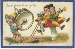 CPA Champignon Mushroom Fantaisie Gnome Lutin Nain écrite - Fairy Tales, Popular Stories & Legends