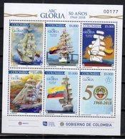 COLOMBIA, 2018, MNH, SHIPS, SAILING SHIPS, ARC GLORIA,  BRIDGES, SHEETLET - Schiffe