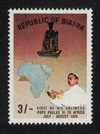 Biafra Visit Of Pope Paul VI To Africa 1v 3Sh Brown Background RAR SG#42var - Timbres