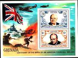 72282) GRENADA-1974 BF. 34-nascita Centenario Di Winston Churchill MNH** - Grenada (1974-...)