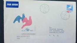 L) 1983 CZECHOSLOVAKIA, MESSENGER PIGEON, 2KC, RED, BLUE, AIRMAIL, CIRCULATED COVER CZECHOSLOVAKIA FROM USA - Czechoslovakia