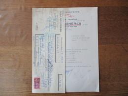 """BANYULS SUR MER ANDRE MAGNERES VIGNERON """"HERMOSA VISTA"""" FACTURE ET TRAITE DU20 OCTOBRE 1958 - France"""