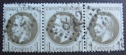 R1680/17 - NAPOLEON III Lauré (BANDE DE 3) N°25 - GC 842 : CHERBOURG (Manche) - Cote : 85,00 € - 1863-1870 Napoleon III With Laurels