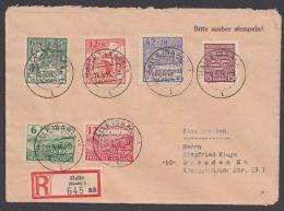 """80y, 85/6 A, 87/9 A, Dek. MiF, R-Brief """"Halle"""", 27.3.46, Mit Ankunft - Sowjetische Zone (SBZ)"""