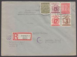 """135 Ya, 145 Yb, Mit Weiteren Werten Auf R-Brief """"Leipzig"""", 18.2.46, Gepr. Ströh - Sowjetische Zone (SBZ)"""