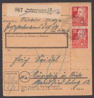 """222, MeF Mit 2 Werten, Paketkarte """"Großhartmannsdorf"""", 19.9.51 - Sowjetische Zone (SBZ)"""