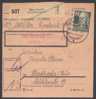 """225, EF Auf Paketkarte """"Aue"""", 4.4.50, Selten! - Sowjetische Zone (SBZ)"""