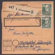 """225, Seltene MeF Mit 2 Werten, Paketkarte """"Warnemünde"""", 23.10.51 - Sowjetische Zone (SBZ)"""