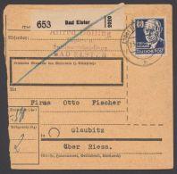 """226, EF Auf Paketkarte """"Bad Elster"""", 23.7.51 - Sowjetische Zone (SBZ)"""