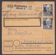 """226, Sehr Seltene MeF Mit 2 Werten, Paketkarte """"Brandeburg"""", 21.1.52, Rücks. Noch Bund 132 Als Lagergebühr - Sowjetische Zone (SBZ)"""