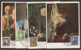 """586/91 """"Gemälde"""", 1957 Auf 6 Farbigen Maximumkarten Mit ESst. - DDR"""
