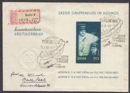 """Block 17 """"Weltraum"""", 1962, Portoger. R-Brief Mit ESst. - DDR"""